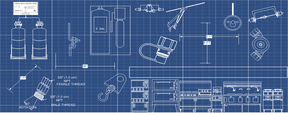 Restaurant Fire System Drawings - ANSUL, BUCKEYE, AMEREX, BADGER, PYRO CHEM, PROTEX, KIDDE, RANGE GUARD